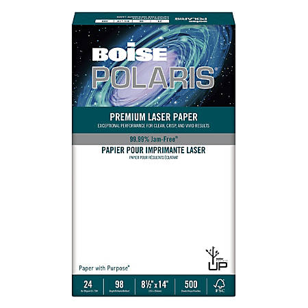 "Boise POLARIS® Premium Laser Paper, Legal Size (8 1/2"" x 14""), 98 (U.S.) Brightness, 24 Lb, FSC® Certified, White, Ream Of 500 Sheets"