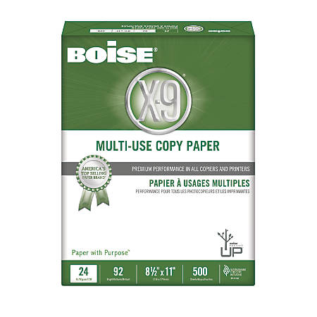 Boise® X-9® Multi-Use Copy Paper, Letter Paper Size, 92 Brightness, 24 Lb, White, Ream Of 500 Sheets