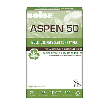 "Boise® ASPEN® 50 Multi-Use Paper, Ledger Size (11"" x 17""), 92 (U.S.) Brightness, 20 Lb, 50% Recycled, FSC® Certified, Ream Of 500 Sheets"