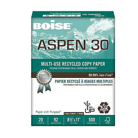 Boise® ASPEN® 30 Multiuse Paper, Letter Paper Size, 3-Hole Punched, 30% Recycled, FSC® Certified, 500 Sheets