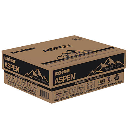Boise® ASPEN® Laser Paper, Legal Paper Size, 96 Brightness, 24 Lb, 30% Recycled, FSC® Certified, White, Ream Of 500 Sheets