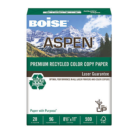 Boise® ASPEN® Premium Color Copy Paper, Letter Paper Size, 96 Brightness, 28 Lb, 100% Recycled, FSC® Certified, White, Ream Of 500 Sheets