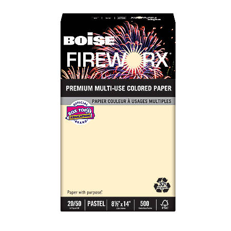 "Boise® FIREWORX® Multi-Use Color Paper, Legal Size (8 1/2"" x 14""), 20 Lb, 30% Recycled, FSC® Certified, Flashing Ivory, Ream Of 500 Sheets"