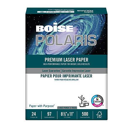 Boise POLARIS® Premium Laser Paper, Letter Paper Size, 98 Brightness, 24 Lb, Ream Of 500 Sheets