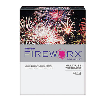 """Boise® FIREWORX® Multi-Use Color Paper, Letter Size (8 1/2"""" x 11""""), 24 Lb, 30% Recycled, FSC® Certified, Hot Pink Mimi, Ream Of 500 Sheets"""