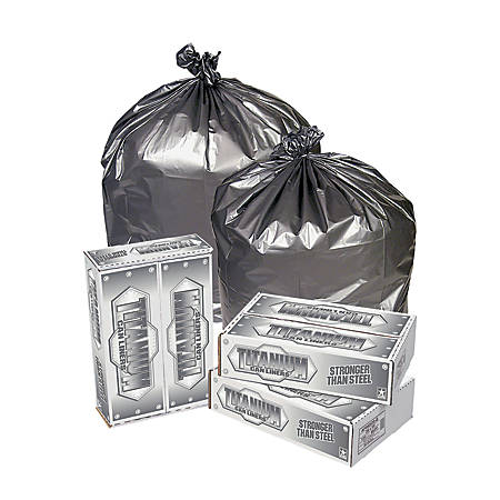 Pitt Plastics Titanium Can Liners, 40 - 45 Gallons, 1.7 Mil, Silver, Pack Of 50