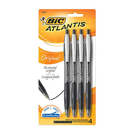 BIC® Atlantis™ Retractable Ballpoint Pens, Medium Point, 1.0 mm, Black Ink, Pack Of 4