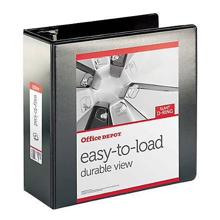"Office Depot® Brand Heavy-Duty Easy-To-Load Slant D-Ring View Binder, 4"" Rings, 56% Recycled, Black"