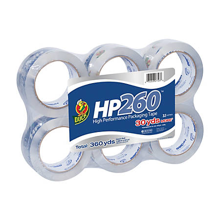 "Duck® HP260™ Packaging Tape, High-Performance, 1 7/8"" x 60 Yd., Clear, Pack Of 6"