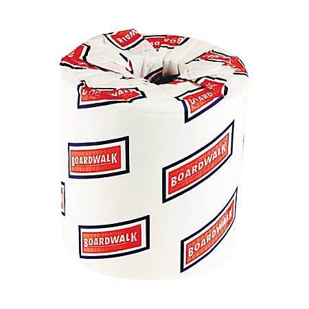 "Boardwalk 2-Ply Standard Bathroom Tissue, 4 1/2"" x 3"" Sheets, White, 500 Sheets Per Roll, Carton Of 96 Rolls"
