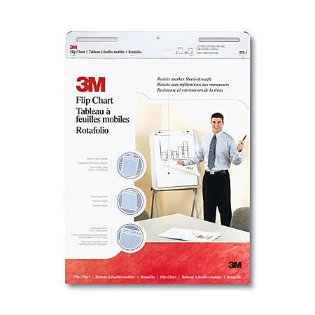 """3M™ Bleed Resistant Flip Charts, 25"""" x 30"""", White, 40 Sheets Per Pad, Pack Of 2 Pads"""