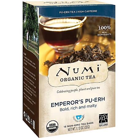 Numi Organic Tea, Emperor's Pu-Erh, 1.13 Oz, Box Of 16