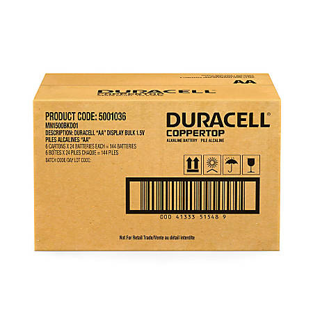 Duracell® Coppertop AA Alkaline Batteries, Pack Of 24 Batteries, Case Of 6 Packs