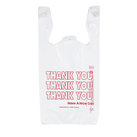 """Inteplast Hilex Poly Thank You Bags, 21""""H x 11 1/2""""W x 6 1/2""""D, White, Pack Of 500"""