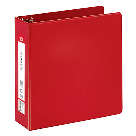 "Office Depot® Brand Nonstick Round-Ring Binder, 3"" Rings, 64% Recycled, Red"