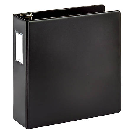 """Office Depot® Brand Durable Round-Ring Reference Binder With Label Holder, 3"""" Rings, 64% Recycled, Black"""