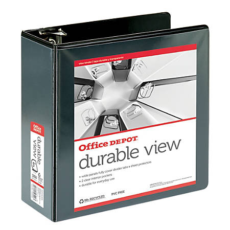 """Office Depot® Brand Durable View D-Ring Binder, 5"""" Rings, 59% Recycled, Black"""