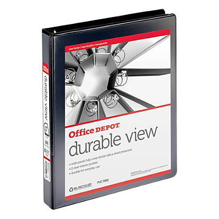 "Office Depot® Brand Durable View Slant-Ring Binder, 1"" Rings, 39% Recycled, Black"