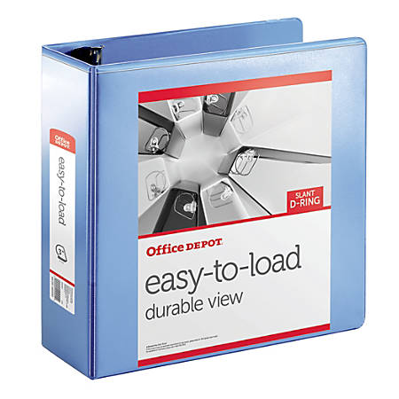"Office Depot® Brand Heavy-Duty Easy-To-Load Slant D-Ring View Binder, 3"" Rings, 56% Recycled, Blueberry"