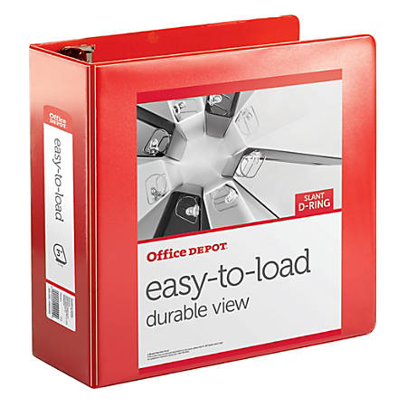 "Office Depot® Brand Heavy-Duty Easy-To-Load Slant D-Ring View Binder, 3"" Rings, 56% Recycled, Rio Red"