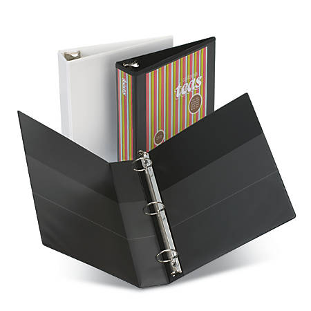 """[IN]PLACE® Heavy-Duty Nonstick View Binder, 1/2"""" Rings, 40% Recycled, Black"""