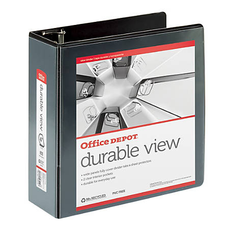 "Office Depot® Brand Durable View D-Ring Binder, 4"" Rings, 39% Recycled, Black"