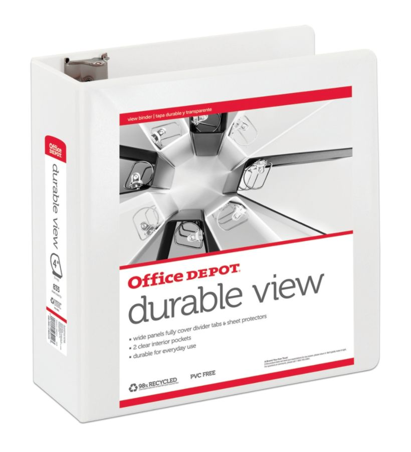 """Office Depot Brand Durable View 4"""" D-Ring Binder, 59"""