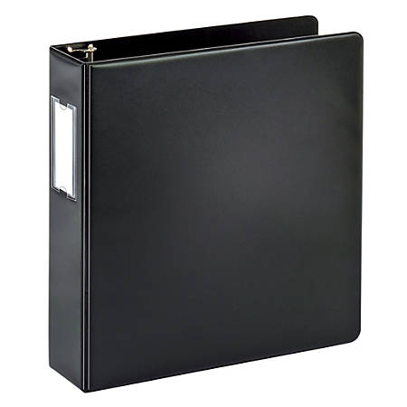 """Office Depot® Brand Durable Round-Ring Reference Binder With Label Holder, 2"""" Rings, 64% Recycled, Black"""