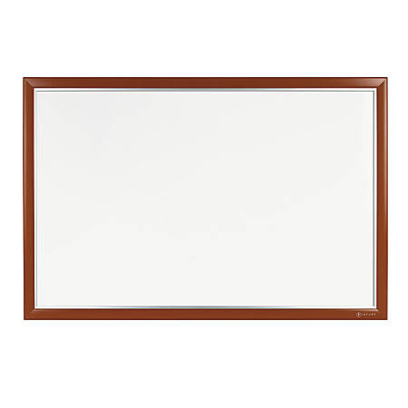 "INFUSE Magnetic Dry-Erase Board, Painted Steel, 48"" x 36"", 100% Recycled, Aluminum/Mahogany Frame"