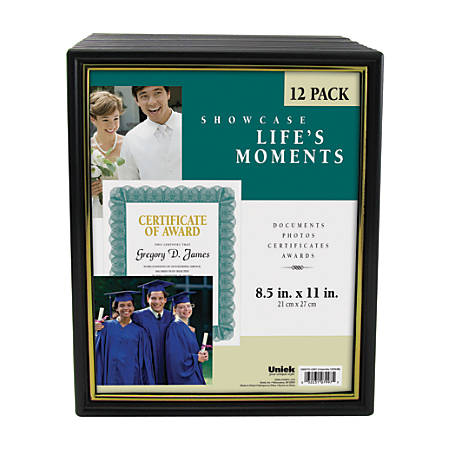 "Uniek Corporate Document Frames, 8 1/2"" x 11"", Black/Gold, Pack Of 12"