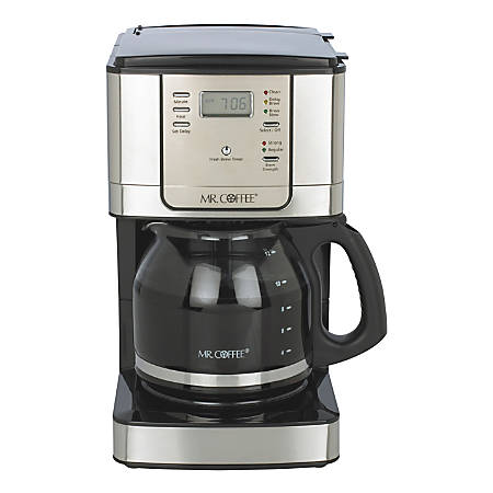 Mr. Coffee 12-Cup Programmable Coffeemaker, Black/Brushed Stainless Steel