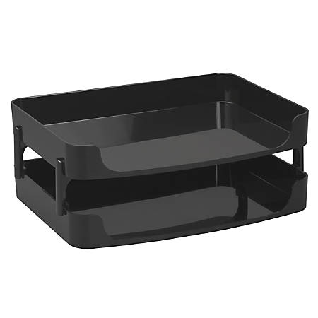 "Officemate® OIC® 2200 Series Letter Trays, Side-Load, 4"" x 10 1/4"" x 15 3/8"", Black, Pack Of 2"