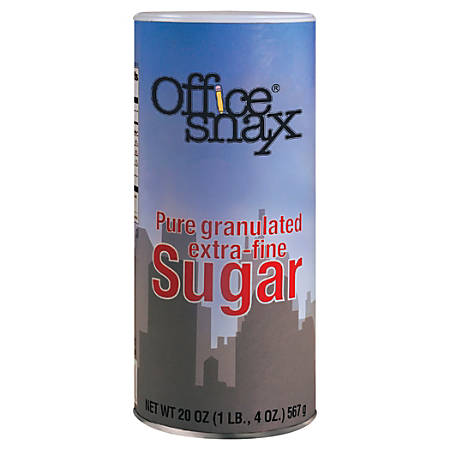 Office Snax Extra-Fine Pure Granulated Sugar, 20 Oz, Case Of 24 Canisters