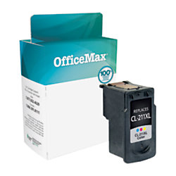 OfficeMax OM05849 Canon CL 211 2976B001 Remanufactured Tricolor Ink Cartridge