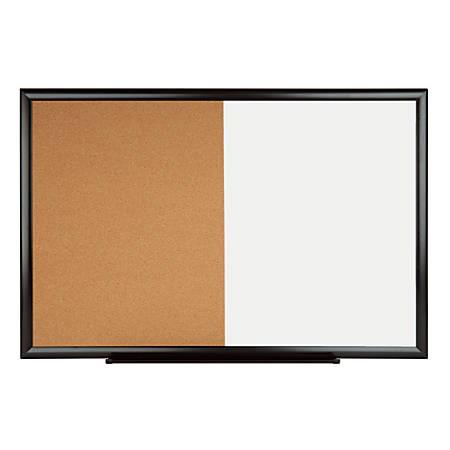 "Office Depot® Cork Dry-Erase Combo Board, 36"" x 24"", Natural, Black Aluminum Frame"