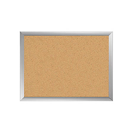 "Office Depot® Cork Board, 24"" x 36"", Silver Frame"