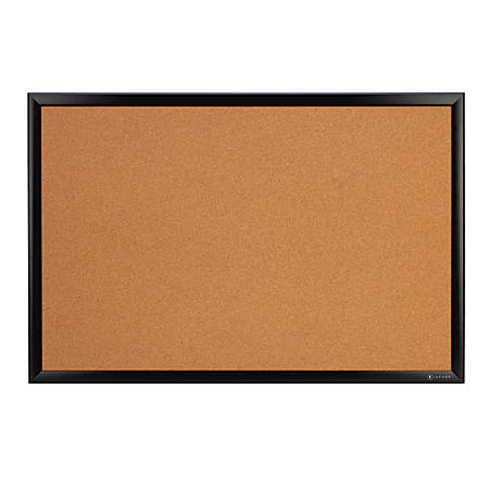 "Office Depot® Brand Premium Cork Board, 48"" x 72"", Satin Black Aluminum Frame"