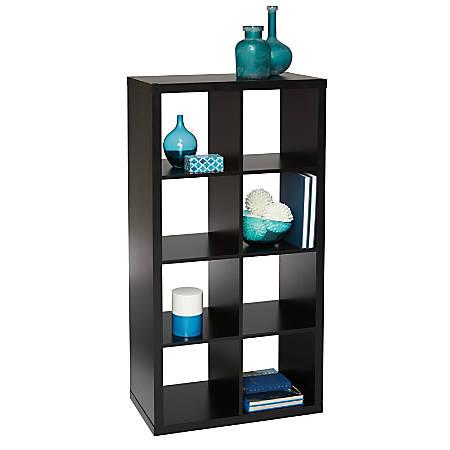 "Brenton Studio® Cube Bookcase, 8-Cube, 52-3/10""H x 27-3/8""W x 14-4/5""D, Black"