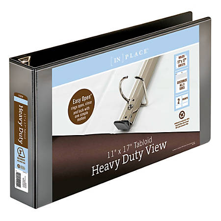 "[IN]PLACE® Heavy-Duty View Binder, 3"" Rings, 59% Recycled, Black"