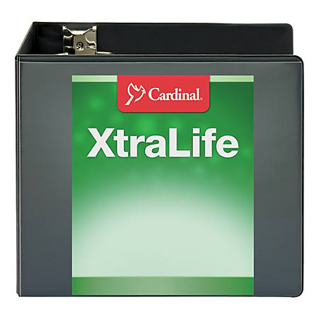 "Cardinal® XtraLife ClearVue Nonstick Locking Slant D-Ring Binder, 6"" Rings, 55% Recycled, Black"