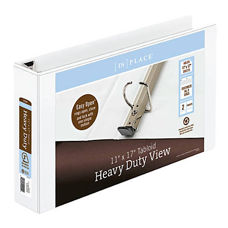 """Office Depot® Brand Heavy-Duty 11"""" x 17 """" D-Ring View Binder, 3"""" Rings, White"""
