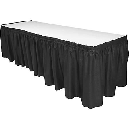 "Genuine Joe Nonwoven Table Skirts - 14 ft Length x 29"" Width - Adhesive Backing - 6 / Carton - Polyester - Black"
