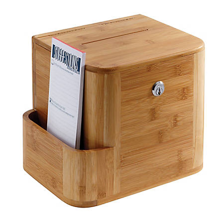 "Safco® Bamboo Suggestion Box, 14""H x 10""W x 8""D, Natural Bamboo"