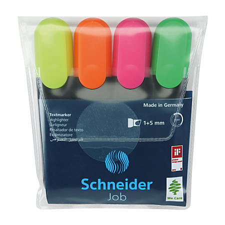 Schneider® Job Chisel Tip Highlighters, Assorted Colors, Pack Of 4