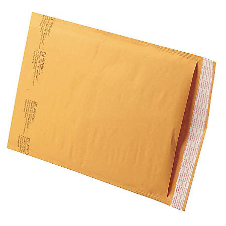 """Sealed Air Self-Seal Bubble Mailers, 9 1/2"""" x 14 1/2"""", Kraft, Case Of 100"""