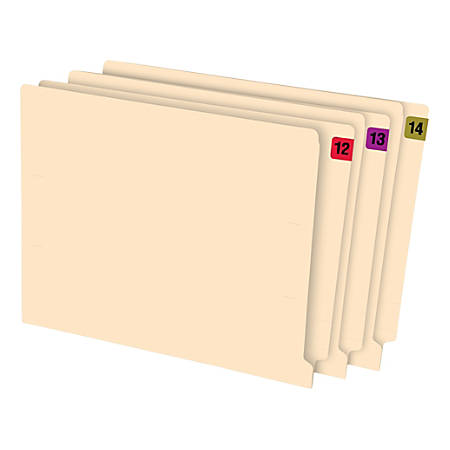 """Oxford® Color-Coded End-Tab Year Labels, 2014, 3/4"""" x 1 1/2"""", Black/Gold, Box Of 500"""