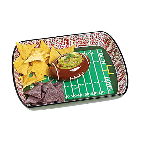Orbit Ceramic Football Stadium Chip And Dip Set, Green/Brown