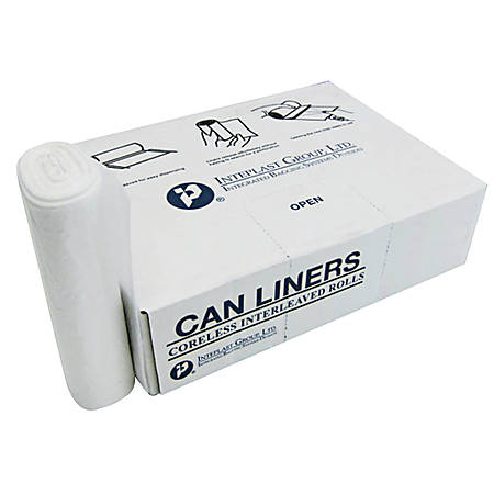 "Inteplast Group Interleaved High-Density Commercial Can Liners, 60 Gallons, 60"" x 38"", Clear, 25 Liners Per Roll, Carton Of 8 Rolls"