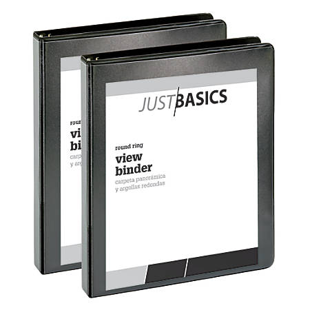 """Just Basics Economy Round-Ring View Binders, 1"""" Rings, 61% Recycled, Black, Pack Of 2 Binders"""