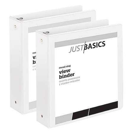 "Just Basics Economy Round-Ring View Binders, 2"" Rings, 61% Recycled, White, Pack Of 2 Binders"